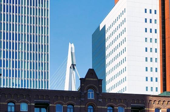 Rotterdam uitzicht met Brug